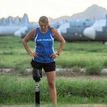 Air Force woman with amputated leg